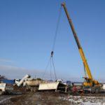 LTM 1030 navracení odtržené korby 12/2010 Rekultivace areálu obalovny Řeporyje